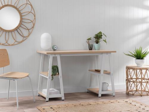 Haywood Trestle Desk - White/Natural