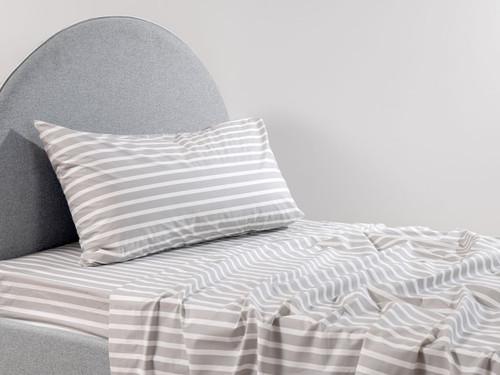 Stripe Grey Cotton Sheet Set - Single