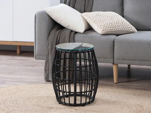 Rattan Look Side Table - Black