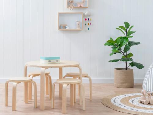 Hudson Kids Table and Stools - Natural Stools