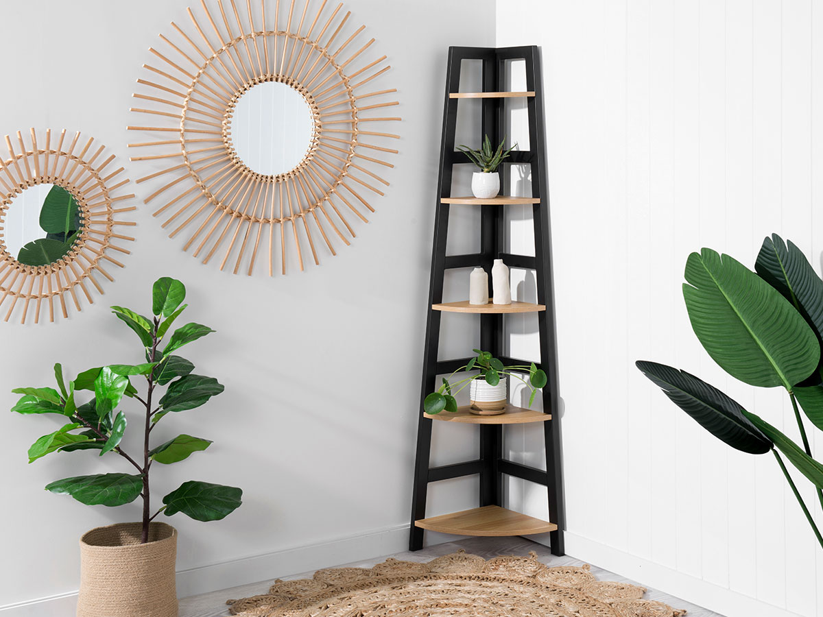 Porto Corner Shelves - Black