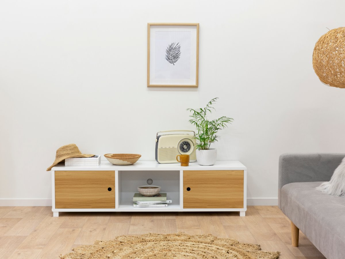 Mocka Essentials Entertainment Unit - Natural Doors