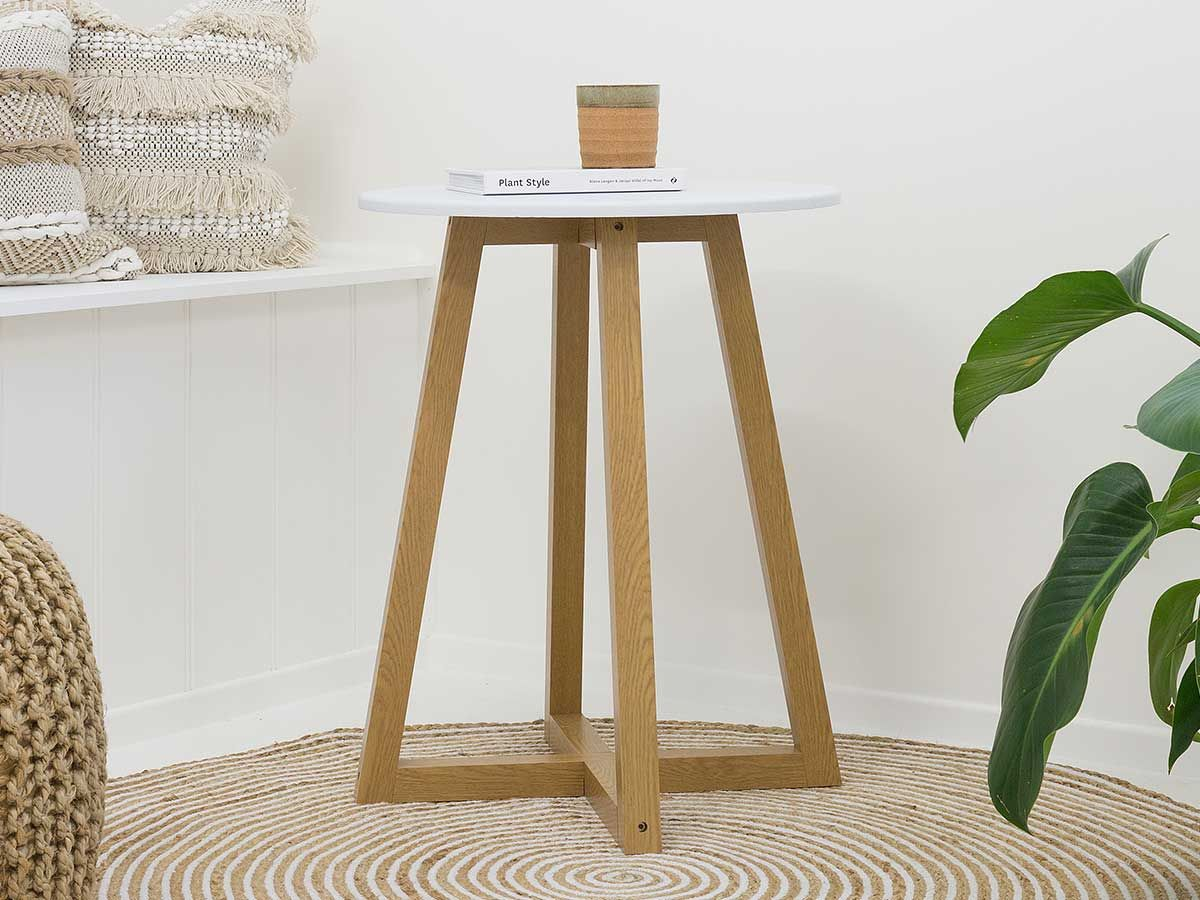 Avalon Side Table - White / Natural