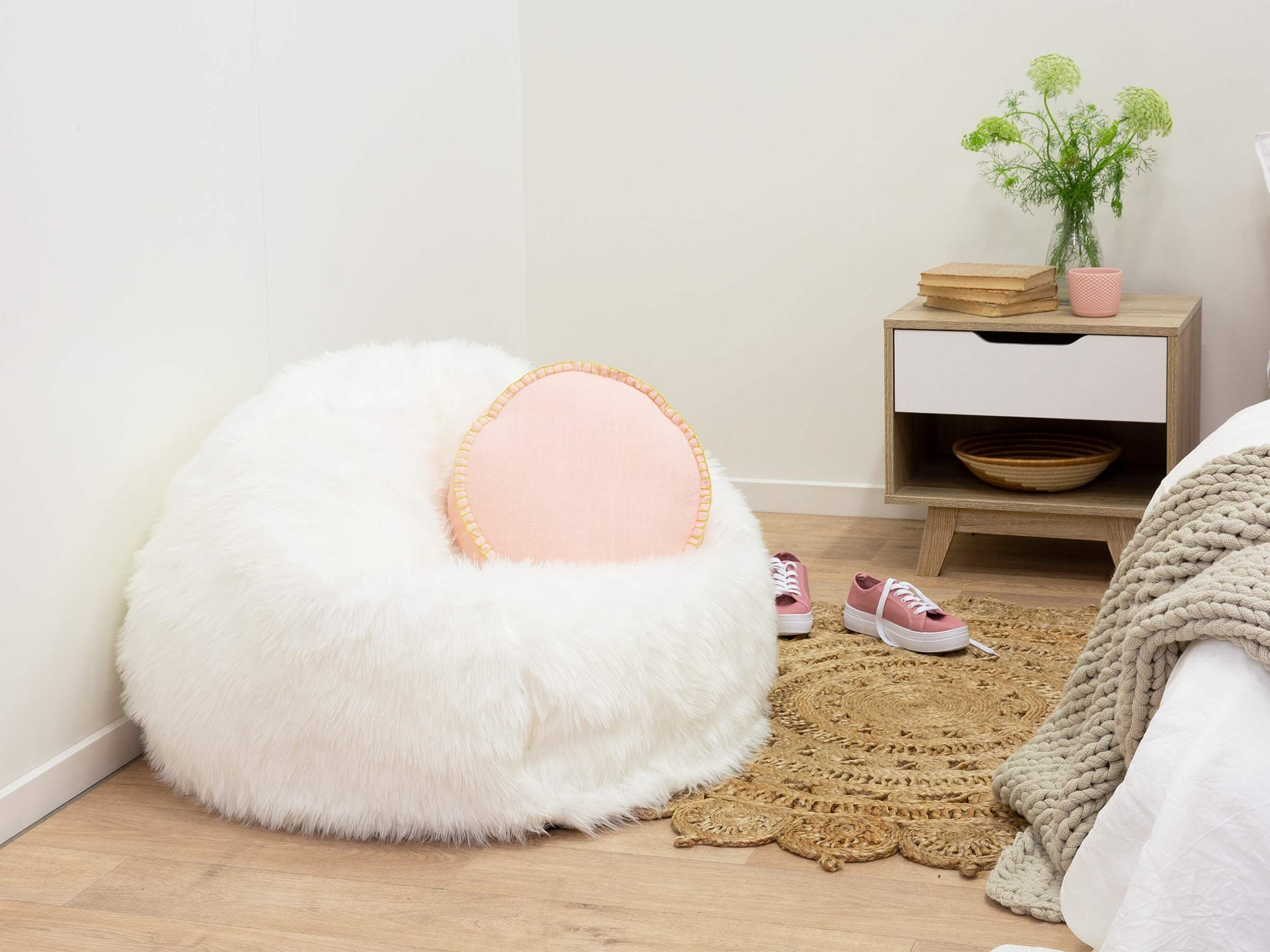 Immy Faux Fur Bean Bag Cover White