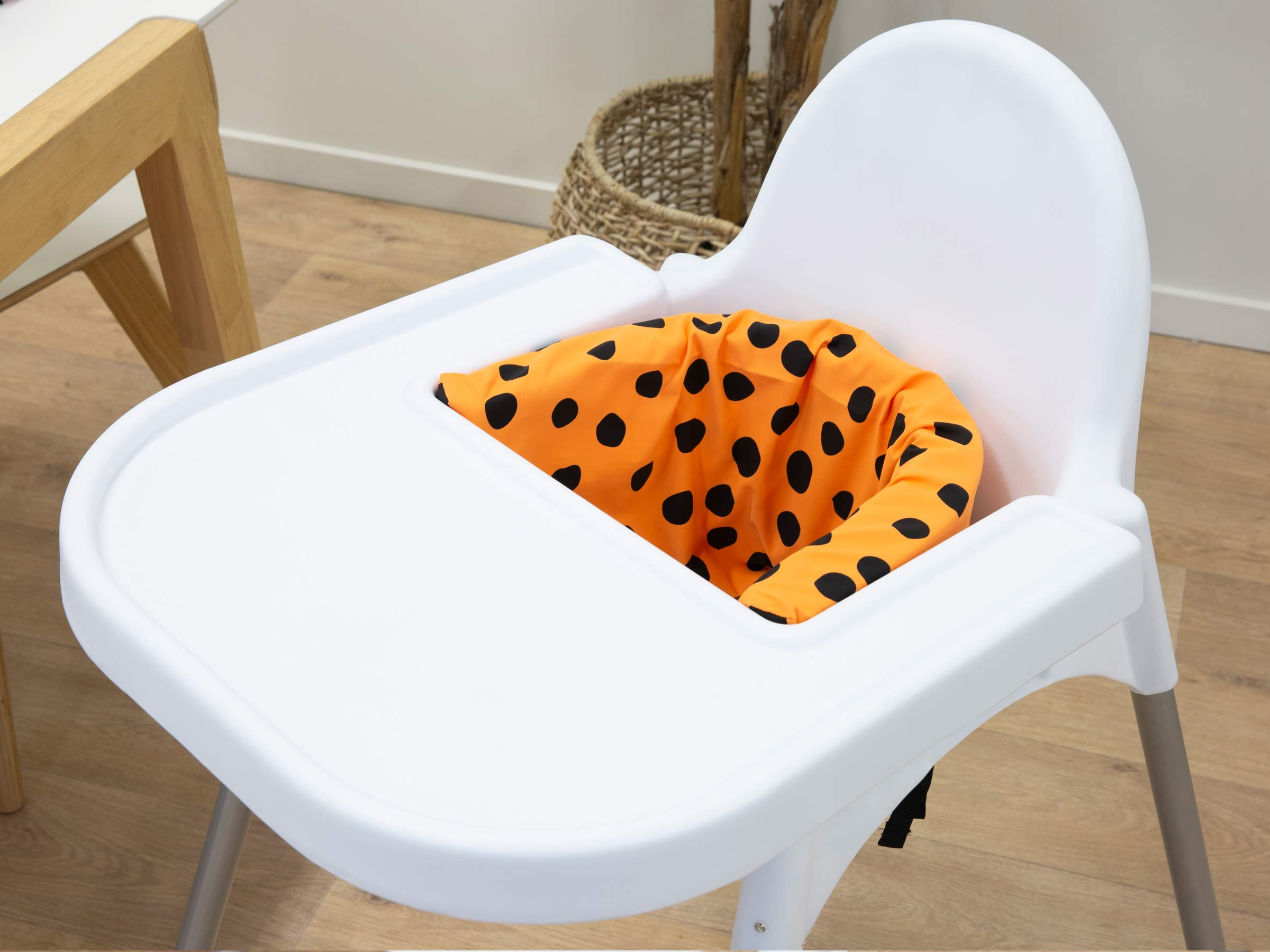 Designer Highchair Insert Cover - Orange Spots