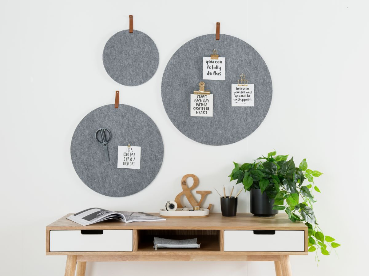 Elliot Pinboard - Set of 3 - Grey with tab