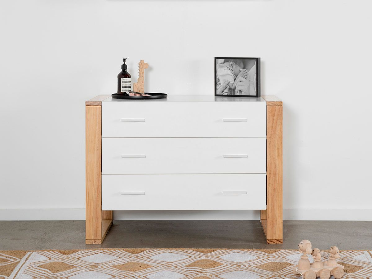 Boston Three Drawer - White/Natural