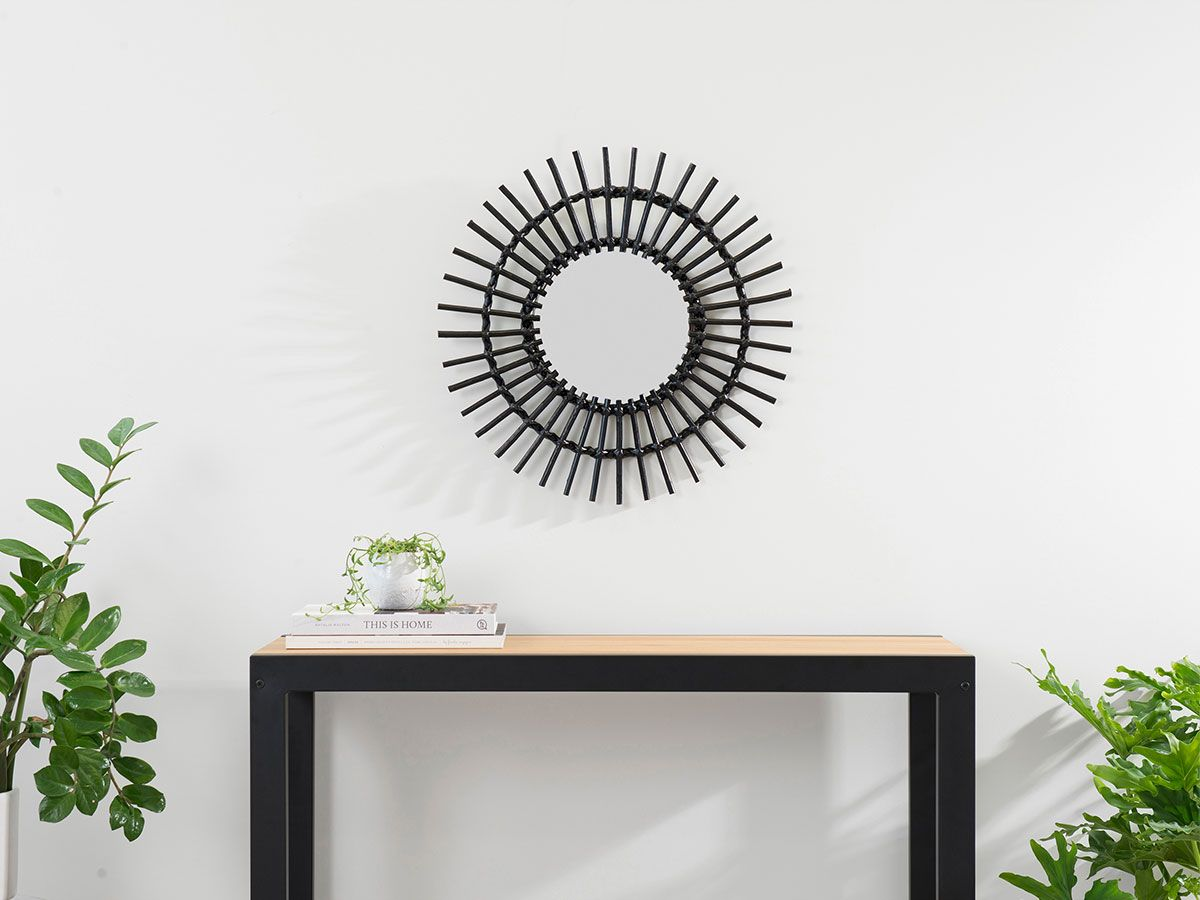 Wicker Mirror - Medium - Black