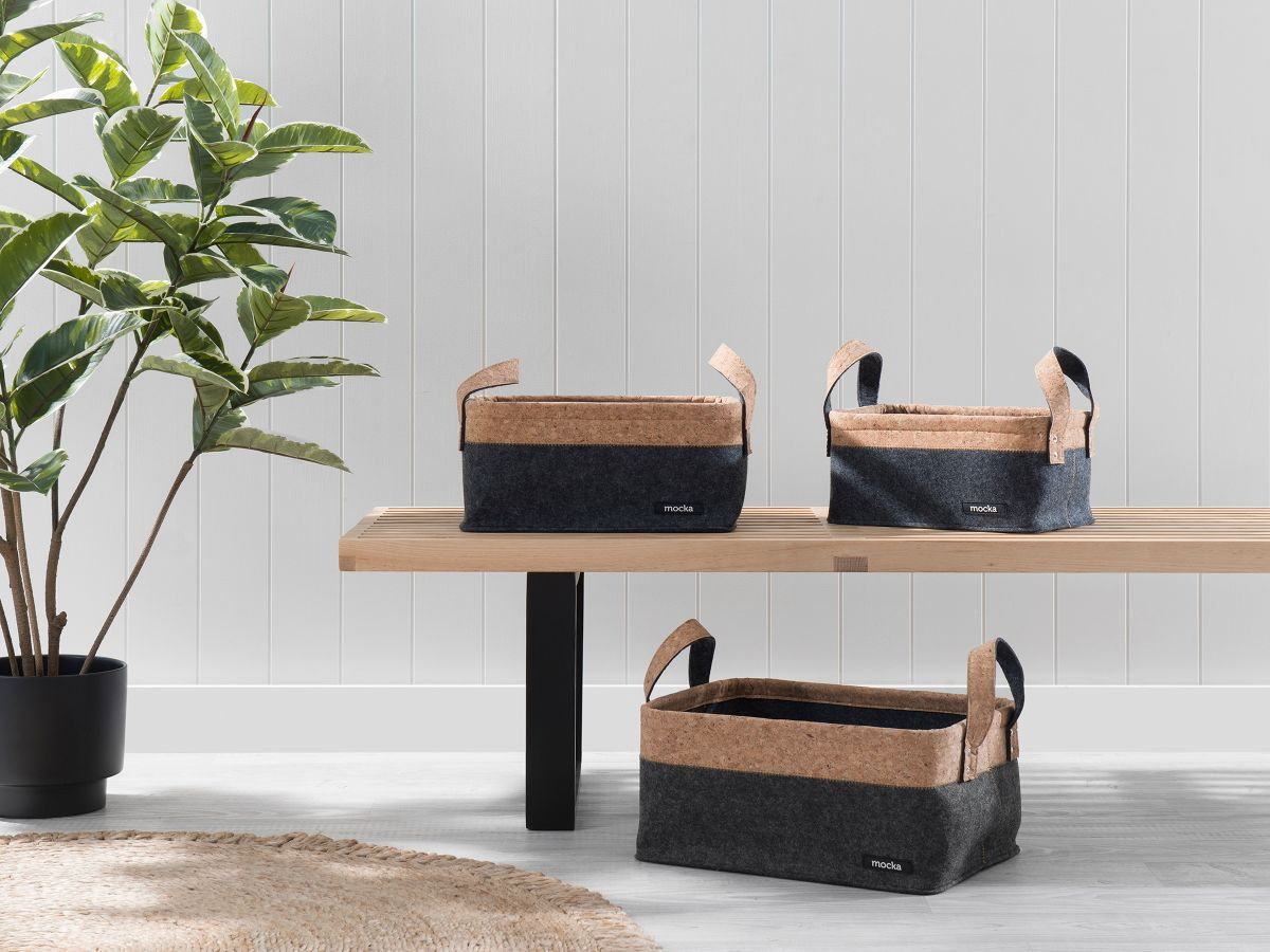 Loryn Felt/Cork Baskets - Set of 3 - Black