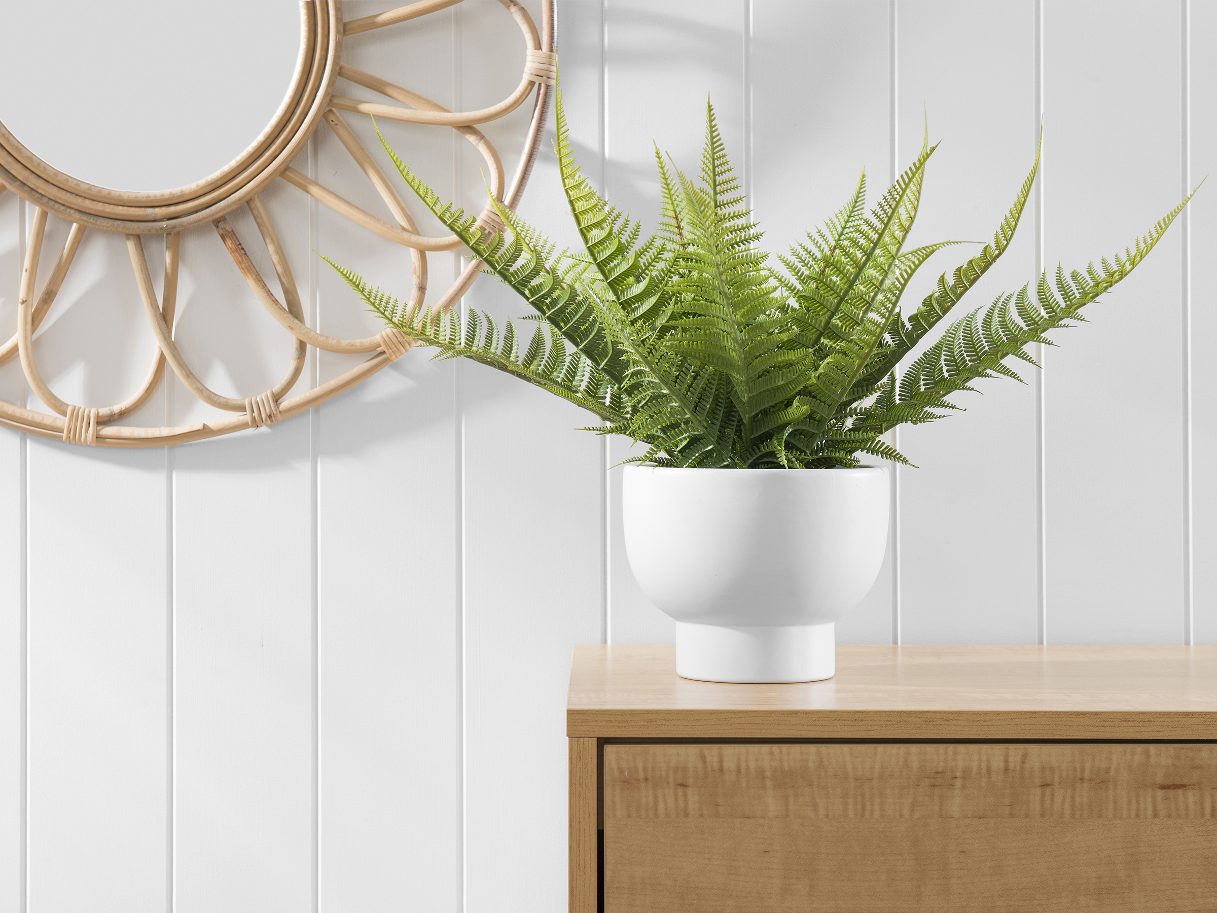Fern White Pot Artificial Plant