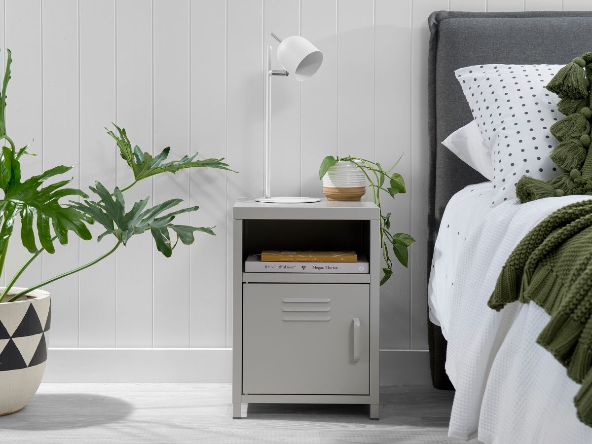 Locka Bedside Table - Light Grey