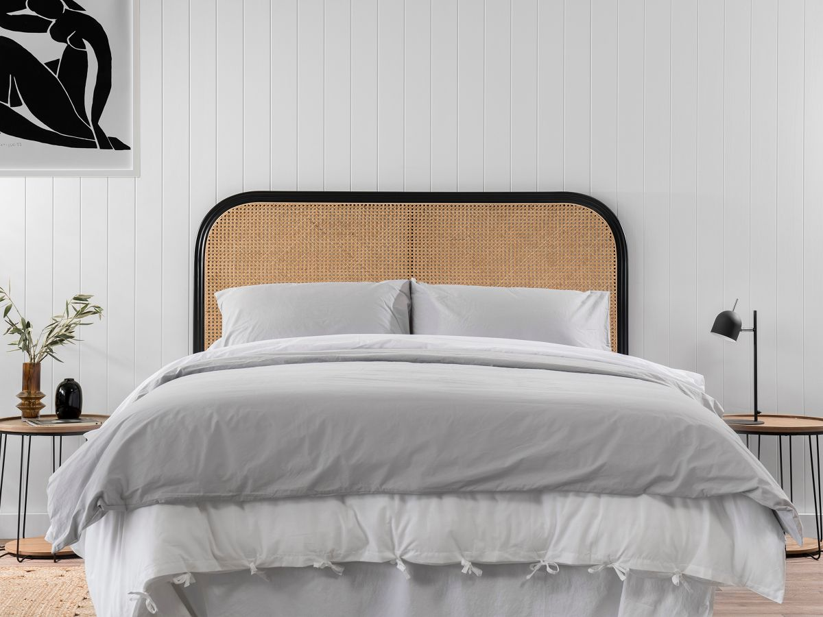 Southport Queen Rattan Bedhead - Black