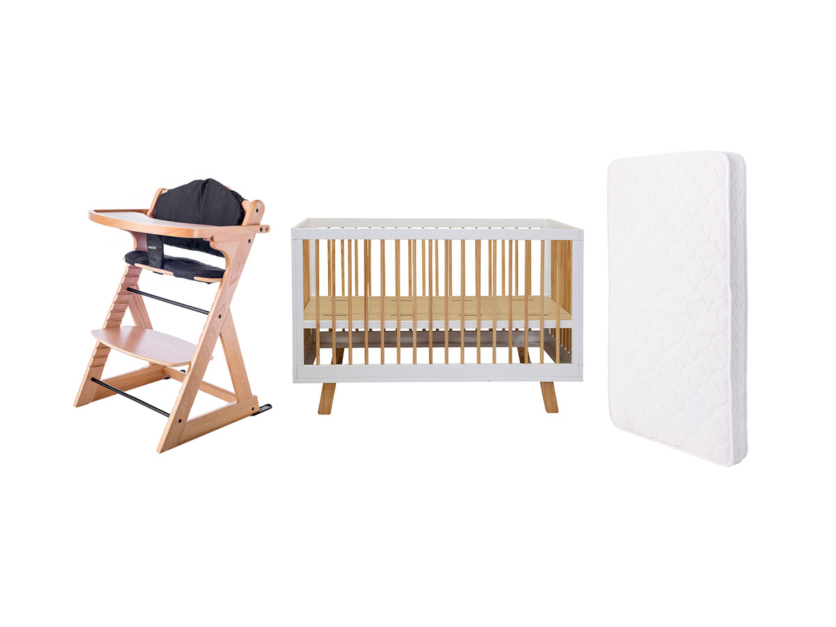 Baby Cot + Mattress + Highchair Package