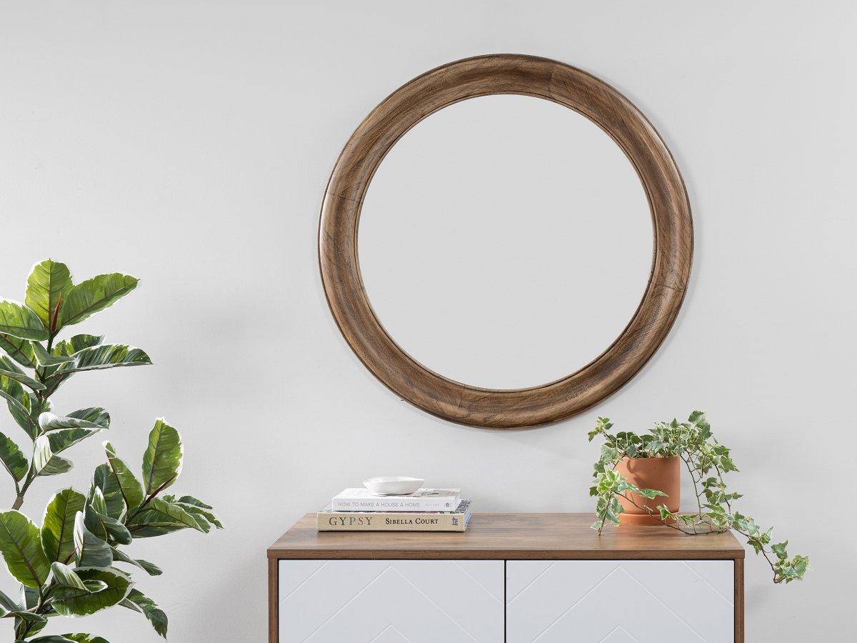 Nevada Wood Round Mirror
