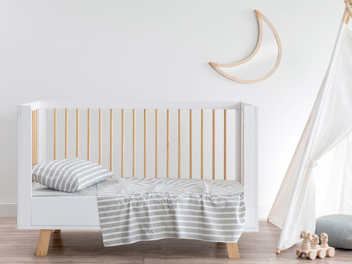 Stripe Grey Cotton Sheet Set - Cot