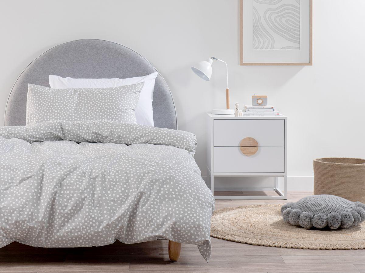 Spot Grey Cotton Quilt Cover Set - Single