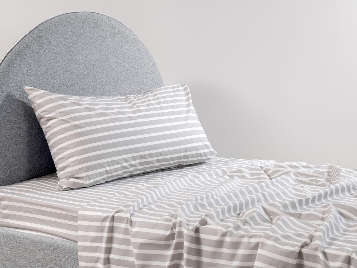 Stripe Grey Cotton Sheet Set - King Single