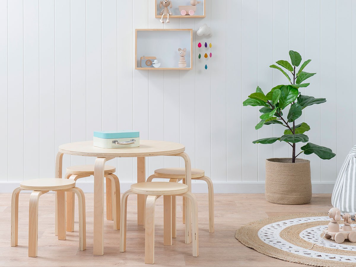 Hudson Kids Table and Stools - Natural Stools