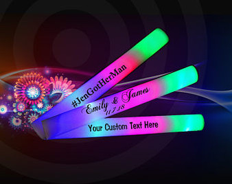 CUSTOMIZE WEDDING LED FOAM STICKS 18  INCH