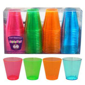 NEON SHOT GLASSES 1 OZ, PARTIES, NEON, GLOW, UV REACTIVE, SHOT GLASS, 2 OZ, NEON COLOR
