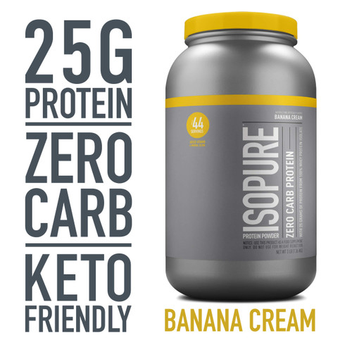 Brand: Isopure  Color: Banana Cream  Features:  100% WHEY PROTEIN ISOLATE - a high-quality protein source providing 25g per serving to support muscle ZERO CARBS- helps for those watching their calorie intakes A PERFECT FIT - supports your active lifestyle and can be used post-workout, between meals, along with a healthy breakfast, or any time of day KETO-FRIENDLY - this protein powder can help support your ketogenic macros GLUTEN & LACTOSE FREE WEIGHT MANAGEMENT - supports your weight management goals by providing 100-110 calories per serving  Publisher: Nature'S Best  Release Date: 19-03-2015  Details: Pack in powerfully pure protein, without packing on the carbs. Our 100% whey protein isolate powders amp you up, without any unwanted weight. Just pick your level: Zero Carb or Low-Carb (which also has ZERO sugar), both with 25 grams of protein per scoop. It's 100% whey protein isolate loaded with vitamins, minerals and nutrients to keep you going strong—and always without gluten, lactose, or any impurities. Made with our complete microfiltration process to be the only completely clear milk protein when dissolved in water. Available in a range of delicious flavors to mix up some seriously delicious and dynamic recipes.  UPC: 89094024994  EAN: 89094022273