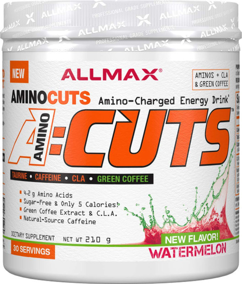 "Brand: ALLMAX Nutrition  Features:  A QUICK AND DELICIOUS CHOICE: On your way to do some cardio? Need a mid-afternoon ""pick-me-up""? No matter your goal, A:CUTS is designed to fit your life and your diet. THE POWER OF TAURINE: A:CUTS provides you with energy to burn! Fortified with Natural-Source Caffeine, Green Coffee extract and CLA, A:CUTS will supercharge your workout with the added benefit of focused fat loss. What's even better is the addition of 2000mg of Taurine, a non-essential amino acid, and one of the most abundant amino acids in the body that can be found in the central nervous system, white blood cells, the brain and skeletal muscles. FORTIFIED WITH 500mg OF C.L.A.: C.L.A. is a remarkable dietary supplement derived from sources like safflower and sunflower oil, and found naturally in grass fed meats and dairy as well as the yolk of an egg. A:CUTS is the ideal combination of ingredients designed to provide energy for training while maintaining muscle mass and supporting a healthy diet. MOUTH-WATERING FLAVORS: Featuring Pina Colada, Goji Berry Martini, Pink Lemonade, Arctic Orange, Blue Raspberry, Watermelon, Grape Escape and Cotton Candy, A:CUTS is sure to have a flavor that will delight your palette.  Publisher: Allmax Nutrition  Details: AMINOCUTS could be the most delicious drink mix we've ever made. Perfect to enjoy anytime, easy-to-mix, full of Aminos and loaded with diet-friendly ingredients like natural-source Caffeine (125mg). Taurine, C.L.A. and Green Coffee extract - AminoCuts is ideal anytime you need an energy boost! Formulated to provide energy, focus and diet support in conjunction with a sensible diet, exercise and/or physical activity. A:CUTS is the ideal combination of ingredients designed to provide energy for training while maintaining muscle mass.  UPC: 665553226859  EAN: 665553226859"