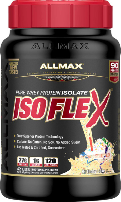 Brand: ALLMAX Nutrition  Features:  TRULY SUPERIOR PROTEIN: 27g of Pure Protein per serving that has been laboratory tested, certified and approved. 90% Protein Content from only Native and Intact, Non-Denatured Whey Protein Fractions. ULTRA-PURE: ISOFLEX uses a unique protein extraction technology called Hybrid-Ratio Ion-Filtration (HRI). A hybrid of two technologies that produce a truly superior ultra-pure WPI. While other brands use Concentrates, ISOFLEX users know that Isolates have a superior protein percentage and won't settle for non-Isolate blends. NEVER LOSE YOUR SCOOP: Gone are the days of digging through your protein to get your scoop. SCOOP-LOCK is ergonomically designed to lock your scoop into place the first time and every time! And it's right there at the top of your ISOFLEX when you open it! Scoop-Lock is available on all Isoflex products and it's only from ALLMAX. THE TASTE YOU CRAVE, THE RESULTS YOU DEMAND: Don't give up taste to get the power of Whey Protein Isolate! The first thing that really sets ISOFLEX apart from any other protein powder on the market is its taste. It tastes amazing! ANYTIME & ANYWHERE: We all know how important it is to get our protein in during that precious anabolic window. Because of the high quality and purity of ISOFLEX, you get some of the fastest protein absorption out there. ISOFLEX mixes well in a shaker cup but can be combined with other ingredients in a blender as a smoothie too. Take ISOFLEX anytime and anywhere you need it.  Publisher: ALLMAX Nutrition  Details: All new and improved ISOFLEX is the ultimate in taste and the ultimate in quality. Not only does ISOFLEX have a brand new look and great taste, using cutting edge technology, it's a pure 100% whey protein isolate source.  ISOFLEX is significantly lower in lactose, fat, sugar and carbs, compared to regular WPIs too!  If you're a bodybuilder you know that high levels of protein consumption are critical to success. We all know how important it is to get our protein in during that precious anabolic window.  Because of the high quality and purity of ISOFLEX, you get some of the fastest protein absorption out there. ISOFLEX mixes well in a shaker cup but can be combined with other ingredients in a blender as a smoothie too.  Take ISOFLEX anytime and anywhere you need it.  UPC: 665553227269  EAN: 665553227269