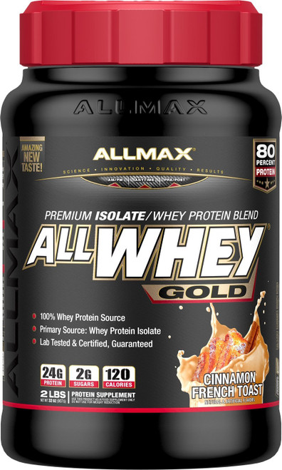 Brand: ALLMAX Nutrition  Features:  PREMIUM PROTEIN, PURE RESULTS: AllWhey Gold uses top quality whey protein isolate as the primary protein source and protein digesting enzymes to support protein absorption and utilization. It has zero non-protein aminos and no fillers. We use a state-of-the-art cross flow filtration system to bring you the cleanest protein. GREAT FOR THOSE WITH DIETARY RESTRICTIONS: Features reduced lactose (milk sugar) protein making it ideal for individuals sensitive to lactose in other protein drinks. AllWhey Gold has also been produced in a cGMP registered facility, it's tested and certified Gluten-Free and certified Kosher protein. AMAZING FLAVORS: You won't believe you're drinking anything but an amazing freshly blended ice cream milkshake when it comes to AllWhey Gold. Our cutting-edge flavor technology will have you craving your next protein fix! NEVER LOSE YOUR SCOOP: Gone are the days of digging through your protein to get your scoop. SCOOP-LOCK is ergonomically designed to lock your scoop into place the first time and every time it's right there at the top of your protein when you open it!  Publisher: ALLMAX Nutrition  Details: ALLWHEY Gold is an ultra-premium 100% protein blend with 24g of Protein in every 30g serving; that's an 80% yield! ALLWHEY Gold digests rapidly, is low in carbs and has only 1g of naturally occurring sugar per serving. Delivering clean, complete and whole protein, sourced from 100% whey protein with zero non-protein aminos added. ALLWHEY Gold has over 5g of naturally occurring BCAAs (leucine, Isoleucine, and Valine) per serving. If you demand low carbs, low fat, low sugar and amazing taste, ALLWHEY Gold is just what you're looking for.