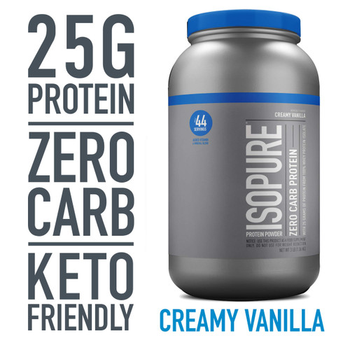 Brand: Isopure  Features:  100% WHEY PROTEIN ISOLATE a high quality protein source providing 25 grams per serving to support muscle ZERO CARBS helps for those watching their calorie intakes A PERFECT FIT supports your active lifestyle and can be used post workout, between meals, along with a healthy breakfast, or any time of day KETO FRIENDLY this protein powder can help support your ketogenic macros GLUTEN & LACTOSE FREE WEIGHT MANAGEMENT supports your weight management goals by providing 100 110 calories per serving  Publisher: Natures Best  Release Date: 09-07-2015  Details: Pack in powerfully pure protein, without packing on the carbs. Our 100% whey protein isolate powders amp you up, without any unwanted weight. Just pick your level: zero carb or low-carb (which also has zero sugar), both with 25 grams of protein per scoop. It's 100% whey protein isolate loaded with vitamins, minerals and nutrients to keep you going strong—and always without gluten, lactose, or any impurities. Made with our complete microfiltration process to be the only completely clear milk protein when dissolved in water. Available in a range of delicious flavors to mix up some seriously delicious and dynamic recipes.When to consume - post workout or other strenuous activity. First thing in the morning. Between meals  UPC: 89094025014  EAN: 89094025014