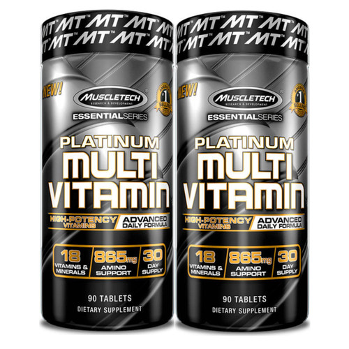 Brand: Muscletech  Features:  2 Pack 20 Vitamins and Minerals with 865mg of Amino Acids to Support General Health Advanced High-Potency Vitamins and Minerals  Publisher: MuscleTech  Details: ADVANCED MULTIVITAMIN Platinum Multivitamin packs high-potency vitamins and minerals into each serving. Platinum Multivitamin has been engineered to deliver 20 vitamins and minerals, including antioxidant vitamins C & E to support general health.