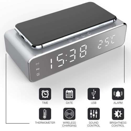 Brand: AIDEBrand: AIDE  Features:  Elegant Bedside Alarm Clock - Featuring 12h and 24h formats, an easy-to-read LED display, and external weather temperatures that can be used for daily or weekly alarms. It also features adjustable brightness and sound for custom comfort. Qi Quick Charge Surface - Charge your Qi-enabled iPhone, Samsung Galaxy, or smartphone with wireless charging thanks to this smart alarm clock that keeps your phone powered up and your schedule on track. Multiple Alarm Settings - The digital alarm clock lets you set a wake-up time, set alerts for when your child gets off the bus after school, or reminds you to enjoy a healthy lunch and stick to smart meal plans. Home, Office, and Travel Use - Small, compact, and portable, this 2-in-1 Qi charging alarm clock can be used beside your bed, when you're at a hotel room, or even at the desk in your office to keep your phone powered up hands free. USB Charging Cable - We've also included a complementary USB to micro-USB charging cable to let you use it almost anywhere. Better yet, it features an energy-efficient power saving mode, reads outdoor temperatures, and detects temperature automatically. The protective film is attached to the product. Please remove the protective film.  Details:  Keep your smartphone charged up and never miss an appointment, date, or temperature with a universal digital alarm clock with built-in Qi charger.  There are few days that go by where you don't need to keep track of the time or charge up your phone so you can be on the go. That's why we created a 2-in-1 Digital Alarm Clock with Qi-enabled smartphone charging pad.  It not only lets you know the date, time, and temperature, but also charges your mobile devices faster and completely wirelessly. Simple and easy to use with iPhones, Samsung Galaxy phones, and other Qi-enabled devices, the bright LED display is easy to read while the alarm lets you set three distinct times so you never miss a moment.  Product Details:  2-in-1 A
