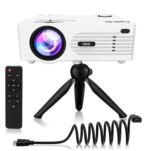 "Brand: QKK  Color: White  Features:  Full HD 2019 Latest Upgraded Projector 1080P Supported - Our QKK 2019 Latest Upgraded Mini Projector is gread designed for indoor and out door movies in dark. You will surely enjoy your happiness movie night with your family easily. [Not Recommended For PPT Presentation!] Highest Native Resolutions on The Market: QKK home theater projector supports 1920*1080 resolution with 50,000 hours long term lamp life, 2000:1 contrast ratio, 16::9 aspect ratio, 32-176"" big screen display at the distance of 1.5M-5M. (Ideal distance is 3.5M with 120"" display.) Double USB Port Designed Projector - Cocerned about many customers need to use 2 USB flash drives at the same time, QKK mini projector technical team worked hardly and successfully added another usb port on the projector (The only mini projector which has this feature on the market). By doing this, you can use two USB thumb drives at the same time. Multimedia Home Theater Mini Projector - QKK full hd projector also has HDMI, AV, VGA, SD Card port, which allows you to use it with Laptop, PCs, TV Box, TV Stick, ChromeBook, Tablets, Blue-ray DVD player, SD Card, USB Flash Drive, Media players (Music, Pictures, Video), Smartphones ( Wireless HDMI Dongle not included). PROJECTOR TRIPOD INCLUDED: QKK Movie Projector not only works with your home entertainment devices like tv stick, video games, dvd player, but also can connect with smartphones by using a HDMI adapter. [Adapter is not included in the package] QKK Mini Projector also comes with an universal tripod in the package to meet our customer's needs.  Publisher: QKK  Release Date: 11-10-2018  Details: Projection Tech: LCD TFT Projection System Display Colors: 16. 7M Lamp color temperature: 20, 000K Lamp life time: 50000 hrs. Power supply AC IN: ~100V-260V 50HZ Projector consumption: 50W AV INPUT: AV Signal Format: The Global Standard Correction Optical: 15 degree A single continuous use time: 24hour Projection size: 32-I70inch Projector Weight: 0. 86Kg Noise and Light leaking: Low Noise, Low Light leaking Dimension: 198 x 153 x 68. 5 mm Audio Frequency: 2W+2W Signal Ports VIDEO INPUT: (1. OVp-p +/-5%) VGA INPUT: (800 X600Q60Hz: (480i 480p 576i 720p 1080i 1080p) USB TF card Format Video Format: MPEG1, MPEG2, MPEG4, RM, AVI RMVB, MOV, MKV, VOB Audio File: MP3/WMA/ASF/OGG/AAC/WAV Picture File: JPEG/BMP/PNG Video File: 3GP(H. 263: , MPEG4)/AVI(XVID, H. 264)/MKV(XVID, H. 264)/FLV(FLV1)/MOV(H. 264)/MP4(MPEG4, AVC)/MEP(MEPG1)VOB(MPEG2)/MPG(MPG-PS)/RMVB(RV40)/RM Text File: TXT HD: 480p/567p/720p/1080p/480*640/600*800/768*1024/1024*1280/720*1280/900*1440/1080*1920/768*1366/800*1280/960*1440/1200*1600/1050*1600 VGA: 480*640/600*800/768*1024/1024*1280/720*1280/900*1440/1080*1920/768*1366/800*1280/960*1440/1200*1600/1050*1600 Package: 1 pcs x 2019 Latest Upgraded Projector 1 pcs x AV Signal Cable 1 Pcs x Remote Control( battery not included) 1 Pcs x HDMI Cable 1 Pcs x Power Cable 1 Pcs x Tripod Mount  UPC: 754970077295  EAN: 754970077295"