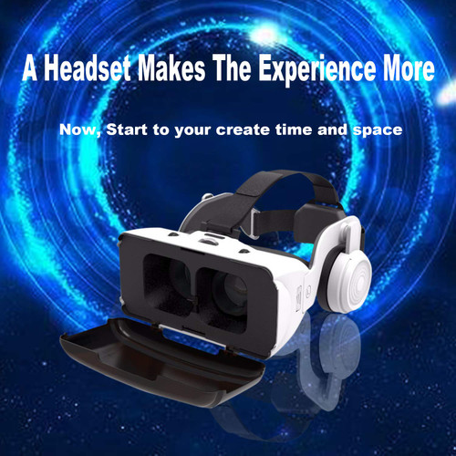 Brand: VVC  Color: White  Features:  ✡3D VR VIRTUAL REALITY HEADSET for IPHONE: Compatible with Android and iPhone, suitable for mobile phone size between 4.7inch to 6 inch. You can wearing it when playing a video games or watching movies, You will step into a new world with endless fun to explore. ✡IMPROVED VISUAL EXPERIENCE: Gaming and watching movies in 3D works best when proper your eyes properly align with the screen. HD resin aspherical lens are updated to be more smooth and purified and perfectly match focal distance and unilateral myopic alignment for reduced distortion. ✡ERGONOMIC DESIGN: The adjustable strap of VR goggles is made of lightweight material, which can bring you lots of comfort while using or carring.This Flexible and adjustable headband is suitable for different people, its extremely soft foam is perfect long time use. ✡HIFI STEREO HEADPHONE: The Active Noise Canceling around-ear headphones will give you crisp, powerful sound and quiet that helps you enjoy your VR movies, games and music better. ✡PERFECT GIFT FOR KIDS & ADULTS: Looking for a holiday gift for a boyfriend, husband, friends, son or daughter, or a colleague...Give your loved ones a virtual reality headset. The VR goggles with head strap is an original gift for anyone who likes new technology and gadgets.  Platform: Smartphone  Publisher: Benny technology  Details:  Turn your smartphone into a powerful gaming machine with VR Headset! Mobile virtual reality is here. Play games, watch 3D movies in your private cinema.  Ultra-light weight reduces stress on your face, convenient for you to carry, and lets you enjoy 3D life anytime, anywhere.  Technology has given us exciting tools and revolutionary new advances in home enjoyment, but nothing rivals playing video games and watching movies in your very own 3D world.  Features: 1. Material: ABS +40MM resin Lens; 2. Lens: Aspheric optical lens, high transmittance ; 3. Video format :left-right 3D ;  4. FOV: 90-100° 5. Weight: 300g; 6. Focal distance : Adjustable ;  7.IPD: Adjustable; 8. Color: White; 9. Faceplate:  flocking fabric + sponge +  velcro; it is    replaceable; 10. Phone stand: 4.7-6.1 inch smart phone; 11. Accessory: Eye glasses cleaning  cloth, user manual; 12. Short-sight suitable: 0-600   The headphones can be removed.  Package List: 1 x VR Shinecon SC-G06E headphone 3D Virtual Reality Glasses 1 x Warranty Card 1 x User Manual 1 x Cleaning Cloth   Compatible with a huge list of the most popular phones : iPhone , Samsung galaxy and note , Motorola, Moto, Nexus, Droid turbo 2 , HTC one, Huawei , Google Pixel 2, LG & many more.  Order VR WEAR virtual reality headsets for yourself or as a gift for those close to you. This is a high-quality and functional device for virtual reality which is so easy to use!  Please feel free to contact us at the first time if you have any questions or problems.  UPC: 757277810206  EAN: 757277810206