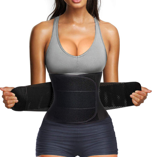 Brand: Nebility  Color: Black  Features:  ★ DOUBLE FIRM CONTROL WAIST TRAINER BELT:Nebility waist slimming belt is wide enough to wrap easily around your tummy tuck as a waist cincher,2 layers loop and hook closure adapts to almost all workouts or activities and support most body types,it provide higher compression on midsection,can help flatten tummy, hold your stomach in,give you a more beautiful hourglass figure. ★ 360°SHAPING & STRONG BACK SUPPORT:the waist trimmer belt has 5 rigid Steel Bones is very stretchy in the right places and provide tons of support on your sides and back.Our waist shaper offer full support for lower back,make your back stay straight,improve posture,relief waist pain,protect spine,helps prevent a Herniated Disc, Lumber Muscle Strain, Back Pain. ★ ENHANCED WEIGHT LOSS WAIST WRAP BAND:this waist slim band used top quality neoprene composite fabric can help keep your muscle warm,promote blood flow,increase body temperature,produce 3 times more sweat,help you burn more calories during fitness workout,combined with the continuous healthy lean diet, exercise and drink plenty of water for extraordinary faster weight loss effect. ★ COMFORTABLE SAUNA SWEAT GIRDLE: our waist trainer sport girdle is made of comfortable & adjustable & stretchy neoprene composite fabric,flexible and durable,100% Latex-Free,it is easy to clean,fits to your body friendly,will not pinch or irritate your skin. Double loop and hook adjustment ensure it conforms to any body type at most extent,all long torso/short torso fit perfectly.Special mesh backing for breathability during hot sauna or other fitness activities. ★ EFFECTIVE CORSETS SHAPEWEAR:the waist shaper belt help smooth your after pregnancy or c-section tummy flabby and love handles,helping you look slimmer.It also helps postpartum recovery all process,reduce swelling,tighten skin,control tummy,support back,relief waist pain,ease transition of uterus and shrink it down to normal size,make your body get back to it