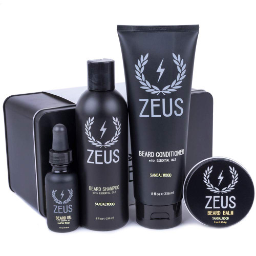 Brand: ZEUSColor: sandalwoodFeatures: MADE IN CALIFORNIA: USA born and bred, using only the best natural ingredients!BEARD SHAMPOO: Rid your bristles of acne-producing contaminants with the Beard ShampooBEARD CONDITIONER: Obtain an unbelievably soft beard with the easy rinse-out Zeus Beard ConditionerBEARD OIL: Elimina