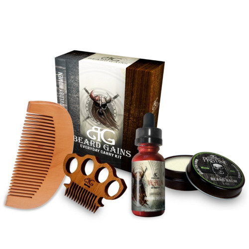 "Brand: Beard Gains  Color: Valhalla Beard Oil/Pristine Beard Balm Medium/Miniknuck Scoop  Features:  VALHALLA SCENT: The great hall in Norse mythology where heroes slain in battle are received. Hall of fallen warriors where Odin rules and Thor lives. Glowing orange accented oil with honey mint praises and cedar, smells fantastic in victory or defeat. PRISTINE SCENT: The meaning of pristine is 1) clean & fresh as if new 2) in its original condition. This was our first staple scent that later created our slogan ""Made For A Man, Loved By Women."" Strong, manly, & heavenly to women. QUALITY & LUXURY: It took years till we knew what we were doing & we're not making empty claims. Imported high-grade oils directly from India, insane combinations, & untouchable scents with mounds of potential essential oil benefits. PATENTED DESIGN: Now Bigger. Our premium rose wood comb is 3-stage hand sanded to a furniture grade smoothness. We also added a gloss protectant coating for increased longevity, our new mini comb is extremely durable, lightweight and of superior quality. EVERYDAY CARRY KIT: Designed to be small and portable to handle daily beard care with ease and quality. Perfect for pockets during daily activities, work, trips, or even carrying on a plane.  Publisher: Beard gains  Release Date: 17-01-2018  Details: WHAT IS EVERYDAY CARRY?:  Everyday carry (EDC) refers to various items, usually small, that are worn or carried by a person on a daily basis for use in everyday tasks. With our EDC kit a man has everything needed to take care of his beard all in one package! Luxury high end products at an affordable price that's made for a man and loved by women.  PRISTINE LUXURY BEARD BALM:  The bar is set high with this superior, awesome smelling beard balm that's guaranteed to make your beard healthier, softer, & smell amazing! Each balm is carefully hand crafted from premium all natural & organic ingredients off a free range goat milk farm in the Southern hills of Alabama. -After quality tested & approved, each balm is then poured & sealed to effectively lock in the same compelling scent since day one.  LUXURY BEARD OIL:  .5oz of luxury oil imported directly from India, Beard Gains has the purest, most expensive oils blended and bottled to perfection for your beard. No corners cut, all of our concoctions are vigorously tested to ensure no rash, redness or irritation. -Some oil blends have taken upwards of 10-12 months of research & development till perfected.  BRASS KNUCKLES MINI WOODEN COMB:  Constructed of premium wood with a protectant coating for longevity. 3 stage hand sanded & individually stress tested to confirm structural integrity. This is the perfect sized comb for convenient carrying without taking up too much pocket space.  OIL SCENT DESCRIPTION:  The great hall in Norse mythology where heroes slain in battle are received. A place of honor, glory or happiness. The hall of fallen warriors where Odin rules and Thor lives as a fallen warrior. Lightly glowing orange accented oil with honey mint praises and a cedar backing, smells fantastic in victory or defeat.  UPC: 782298286525  EAN: 782298286525"