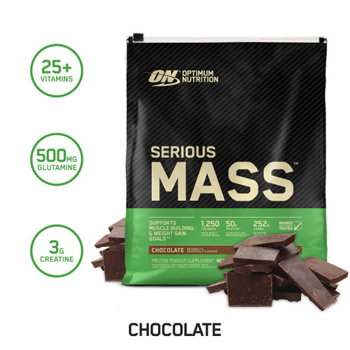 "Brand: Optimum Nutrition  Color: Chocolate  Features:  Packaging may vary - New look, with the same trusted Quality! High Calorie Weight Gainer: 1,250 Calories per 2-Scoop Serving 50 Grams of Protein per Serving Over 250 Grams of Carbohydrates per Serving 25 Vitamins & Minerals Plus Creatine & Glutamine Using an Electric Blender to Add Fresh or Frozen Fruits, Peanut Butter, Nuts & Other Calorie Dense Foods to Boost Your Weight Gain Potential Search ""ON Apparel True Strength"" to see our new ON clothing line  Publisher: Optimum Nutrition  Release Date: 28-06-2006  Details: Serious Mass is the ultimate in weight gain formulas. With 1,250 calories per serving and 50 grams of protein for muscle recovery support, this instantized powder makes the ideal post-workout and between meals shake for sizing up your goals. Serious Mass provides you with the tools you need to pack on the pounds and help you develop the physique you've always wanted.  UPC: 748927023800  EAN: 748927062977"