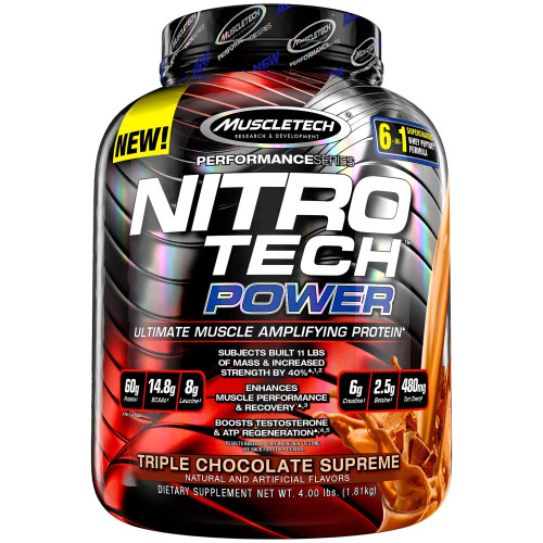 Brand: Muscletech  Color: Pink  Features:  30 gram of whey protein per serving - 30 gram of Pure Whey Protein, sourced primarily from whey peptides and whey isolate - two of the cleanest and purest protein sources available Contains a blend of workout amplifying ingredients - BETAINE, BORON, & BCAA's - This super-engineered formula is loaded with 14.8 gram of BCAAs, 2.5 gram dose of betaine, and 200 milligram dose of boron citrate Build more strength than with regular whey protein - Contains a research-proven 3 gram dose of creatine monohydrate, which - combined with whey protein - helps to build more strength than regular whey protein. Better Macronutrient profile - Doesn't pack the extra sugar and carbs you'll see in other protein powders with only 4 gram of carbs, depending on the flavor, and no more than 2.5 gram of fat Cold Microfiltration process to remove more fat, carbs & lactose - Unlike the other guys, we don't use heat, harsh acids or salt our whey protein has been filtered using multi-phase filtration technology for less fat, lactose and impurities than cheaper protein sources.  Publisher: MuscleTech  Release Date: 24-11-2015  Details: NitroTech Power contains several key ingredients shown in multiple clinical studies to help you pack on more muscle than ever NitroTech Power starts with a powerful blend of premium 100% whey protein for high levels of essential branched chain amino acids (BCAAs). MuscleTech researchers also loaded ach two-scoop serving of this incredible new protein with clinical doses of creatine monohydrate, betaine anhydrous, boron citrate and tart cherry – creating the ultimate muscle-amplifying whey protein  UPC: 631656709582  EAN: 631656709582