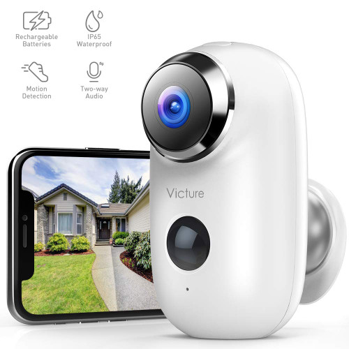"""Brand: Victure  Color: White  Features:  [Easy Setup]:The Victure Outdoor Security Camera is easy to connect with 2.4G WiFi (Do not support 5G). You can download CloudEdge App from Google Play or Apple Store [Rechargeable]:Built in internal 6000mAh Lithium rechargeable batteries, the wireless outdoor camera achieves it completely 100% wire-free. It comes with a magnetic bracket, screw and double-sided adhesive tape for installation anytime, anywhere [1080P HD Night Vision]:With 1920*1080 resolution, no distortion, Victure outdoor camera displays clear 130°wide angle view. Infrared Led Lights captures sharp image up to 10 meters (32ft) at night [Smart PIR Motion Detection]:Built-in PIR & motion sensitive dual sensor detects only objects with heat signatures. The home security camera will push alert notifications to your phone when the movement is detected [Clear 2-Way Audio& IP65 Weatherproof]:The built-in microphone and the speaker allow you to listen and talk to your lovers freely. With weatherproof and IP65 certified, the wireless outdoor camera can work well even in harsh conditions, not afraid the snow, rain or heat  Publisher: Victure  Details: [Guarantee]  Ifyouhaveanyquestions,Timelyemailcustomerserviceat.Weensure100%satisfactionandwewilldoourbesttoresolvetheproblem  [Connection tips]  1.Only support2.4G wifi. 2.The password of wifi should not contain special characters. 3.If fail in connecting, please reset (the reset button is next to the power port) and try again until hear a """"bugu"""" 4.Please hold the phone about 5-8 inch away to read the QR code 5.Ensure the indicator light slowly blinking in RED before setup WIFI  [Micro SD card tips]  1.Support 128G max 2.Insert card when out of power. 3.Refresh setting information in the setting of menu.  [Two -way audio and motion detection]  1.two-way audio:Please turn on the microphone permissions and turn on the volume of your phone and app. 2.Motion detection:please enable clouEdge app notification in mobile settin"""