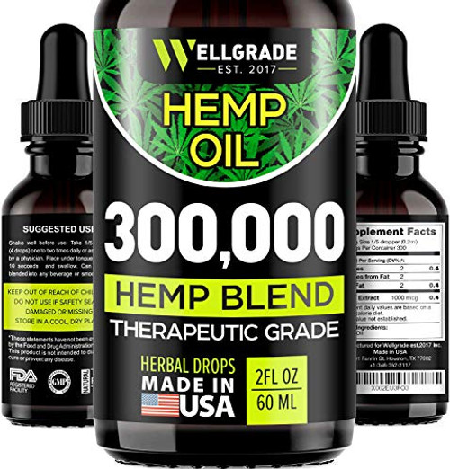 Brand: WELLGRADE -EST. 2017-  Features:  PREMIUM EXTRACT & GREAT TASTE - Made from the finest ingredients, absolutely natural. Contains Organic, Non-GMO, Ultra-purified Hemp Oil. NATURAL PAIN KILLER - Get powerful pain relief from back pain, joint pain. NO STRESS & ANXIETY - Hemp Oil is known for its function of mood balancing and has been found very helpful in reducing anxiety and providing stress relief. In addition it boosts brain function. MENTAL CLARITY - Using our oil you'll get increased focus and attention. HEALTHY MIND AND BODY - The unique composition of fatty acids and vitamins found in this oil help to support overall wellbeing.  Publisher: WELLGRADE -EST. 2017-  Details: Wellgrade hemp oil supplement is naturally sourced and professionally formulated to deliver maximum results and benefits to support a healthier lifestyle. Hemp extract oil effectively relieves pain. It also improves the quality of sleep while supporting a healthier heart, brain, focus, joints, immune system, skin, and hair. Take our supplement daily to help you feel and look your best both inside and out. Top Benefits: Enhanced Brain Function No Anxiety & Stress Improves Mood Improved & Quality Sleep Boosts Immune System Quick Absorption Possible allergic reactions: Runny nose Impacted sinuses and/or congestion Shortness of breath Tightness in the chest