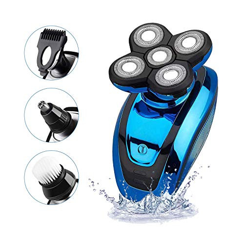 Brand: KEMEI  Features:  FLOATING ULTRA-ADVANCED SHAVING HEAD: High Performance Rotary Shaver contours to every angle of your face comfortably follows to shave any length of hair evenly Achieve your look, your style.Smooth shave to reduce irritation. Ergonomic design: It allows for a more controlled shave experience, with five head shaving and compact size, easy to handle and store. And the flexing shaver neck provides smooth transition from neck to face for ultimate contact. MULTIFUNCTIONAL GROOMING KIT:Includes five attachments: Gentle bristle brush and soft face sponge for daily cleansing; High performance five head rotary shaver delivering a close result; Precision trimmer and nose & ear trimmer for those finishing touches on beards, mustaches, sideburns and more.One-Button Operation to operate. MAX LITHIUM POWER - The long-lasting lithium battery provides 60 minutes of cordless run time after just 2 hours of fast charging (using 5V/2.4A charger) unlike the Nickel hydrogen type with 5-hour charging time in the market. WET DRY SHAVER: This shaver allows you a comfortable dry shave or a refreshing wet shave with shaving cream or gel in the shower. With IPX7 whole body washable design, cleaning it is fast and easy.  Publisher: KEMEI  Details:  Product description  Colour Name:Bule  Men's 5-in-1 Electric Shaver & Grooming Kit, you will gain a complete control in the palm of your hand.  Highly versatile and ultimately convenient, this trimmer set will be the only gadget you need for your hair, beard and facial care.     Specification:  Power Type: Rechargeable  Charging Time: 1 hours  Usage Time: 60 mins  Voltage: Global Universal (100-240V)  Material: ABS + Stainless steel  Power: 5W  Frequency: 50Hz            5 different trimming heads include:  Five-Head Shaver Head  Facial Massage Brush Head  Facial Deep Cleaning Brush Head  Nose Trimmer Head   What's in the Package:  1x Main Body  1x USB Charger cable   1x Cleaning Brush  1x Protective Cover  1x Hair Trimmer Head  1x Five-Head Shaver Head  1x Facial Massage Brush Head  1x Facial Deep Cleaning Brush Head  1x Nose Trimmer Head  1x 3mm Comb  1x 5mm Comb  1x 7mm Comb     WARRANTY:  If you still have any issue with this shaver ,pls feel free to contact us! 1 year Guarantee 100% money back or replacement for defective products.Any questions will reply on time,thanks!