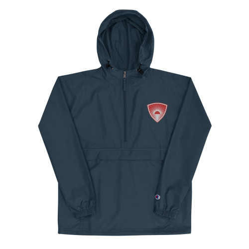 """Protect yourself from the elements with this Champion packable jacket. This wind and rain resistant polyester jacket with a detailed embroidery design has a practical hood, front kangaroo pocket, and zipped pouch pocket which you can pull out and use to scrunch the jacket into for convenient storage. • 100% polyester micro poplin • Wind and rain resistant • Half zip pullover with a hood • Front kangaroo pocket • Hidden zipped pouch pocket • Packable in the zipped pouch pocket • Adjustable bungee draw cord at hood and bottom hem • Elastic cuffs • Embroidered """"C"""" logo on the left sleeve  Size guide   SMLXL2XL Body Length (inches)27 ¼2828 ¾29 ½30 ¼ Body Width (inches)21 ¼22 ¾24 ¼25 ¾27 ¼ Sleeve Length (inches)34 ¼34 ¼3636 ¾37 ½"""