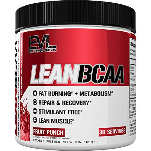 Brand: Evlution  Color: Fruit Punch  Features:  ALL-IN-ONE FORMULA TO BUILD MUSCLE AND BURN FAT PLUS BOOST ENDURANCE AND RECOVERY with 5 grams of BCAAs to improve muscle growth and recovery, plus CLA and L-Carnitine to support fat burning without stimulants. ANYTIME WEIGHT MANAGEMENT AND FAT LOSS SUPPORT from a full spectrum of fat burning ingredients including CLA and L-Carnitine which support release of fat and burning it for fuel to help you build a lean body any time of day. PROTECT MUSCLE FROM BREAKDOWN DURING TRAINING AND DIETING: BCAAs have been shown to preserve muscle mass under intense training or dieting characterized by protein breakdown and muscle wasting; by providing added BCAAs, the body is less likely to consume its own amino acid (protein) stores from muscles. STIMULANT FREE MUSCLE FUEL: BCAAs provide an additional fuel source during training for working muscle, kicking in when the body uses up other fuel sources to keep your performance high. ZERO CALORIES, ZERO SUGAR OR CARBOHYDRATES, AND GLUTEN FREE making LEANBCAA the cleanest product to support your active lifestyle and keep you going without added sugar or carbohydrates.  Publisher: Evlution