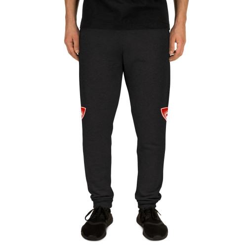 Get ready for that 10K run or take it slow in your backyard—these joggers are sure to make you feel comfortable either way. • 60% cotton, 40% polyester pre-shrunk fleece • Fabric weight: 7.2 oz/yd² (244 g/m²) • 1x1 rib cuffs with spandex for stretch and recovery • Elastic waistband with external drawcord • Contrast drawcord and side pockets (all body colors include charcoal gray contrast detailing except black heather, which has black) • Lower rise on the front, longer rise on the backside • Pilling-resistant • Tapered leg  Size guide   	S	M	L	XL	2XL Waist width (inches)	11	13	15	17	19 Inseam length (inches)	31	31 ½	32	32 ½	33