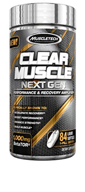 Brand: Muscletech  Color: Clear Muscle Next Gen  Features:  Patented betator - Contains a revolutionary muscle building Compound exclusive to MuscleTech.. Ingredients: betator (beta-hydroxy-beta-methyl butyrate free acid), Betaine anhydrous, glycerin, modified food starch, carrageenan, sorbitol, purified water, Natural flavors. Scientifically researched - subjects using the precise Clear Muscle Next Gen formula gained 16.3 lbs. Of muscle in 12 weeks. The placebo group gained 4.6 lbs. Increase anabolism - increase protein synthesis (anabolism) by 70% and decrease muscle breakdown (catabolism) by 58%. Faster recovery - accelerate Recovery and decrease delayed onset muscle soreness (Doms). Clinically studied - Clear Muscle Next Gen is unlike anything else on the market, backed by over 10 human clinical studies.  Publisher: AmazonUs/IOVAB  Release Date: 22-04-2019  Details: Clear Muscle Next Gen is a super-concentrated, single-pill dose. It supplies a revolutionary muscle building compound called BetaTOR, which is a unique, cutting-edge metabolite and free acid derivative of Leucine and HMB. This one-of-a-kind compound unlocks the true potential of HMB for unprecedented bioavailability, effectiveness and results. Betator works to dramatically amplify protein synthesis through the motor pathway while simultaneously fighting muscle breakdown by inhibiting the Ups pathway. This puts the body into the perfect state to build muscle. There is no other supplement like this, and it is exclusively available to MuscleTech in a clear liquid pill.