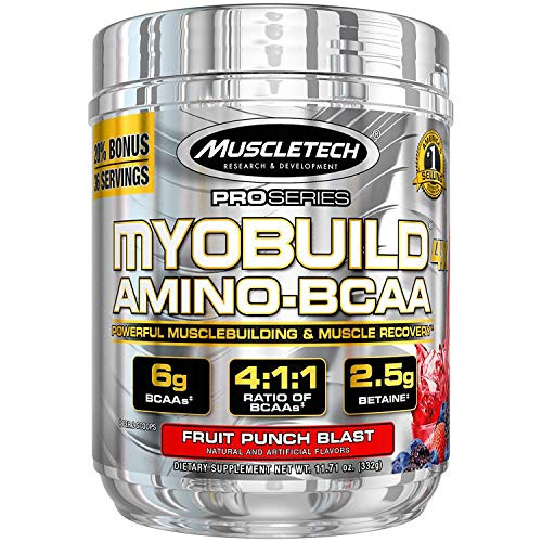 Brand: Muscletech  Color: Myobuild  Features:  INCREASE STRENGTH BY 40 percentage This exact 4g dose of leucine that was shown in a clinical study to help subjects increase their 5 rep max strength by over 40 percentage BUILD MUSCLE and MUSCLE ENDURANCE Betaine is one of the hottest new musclebuilding ingredients, thanks to its ability to increase lean muscle, size, strength and power IMPROVE PERFORMANCE The 2g dose of taurine is clinically shown to improve performance in endurance athletes SUPPORT RECOVERY AND FIGHT MUSCLE BREAKDOWN Emerging research shows the powerful phytonutrients in tart cherries can help support recovery after training through the reduction of post workout pain, while also fighting catabolism (muscle breakdown) REPLENISH ELECTROLYTES For a truly complete formula, precise doses of electrolytes were added to help replenish electrolyte stores that are depleted during your workout  Publisher: Iovate Health Sciences Incorporated  Release Date: 19-11-2015  Details: MyoBuild 4X is the most advanced BCAA and recovery formula on the market! A 4:1:1 ratio of BCAAs featuring a scientifically studied dose of leucine, plus isoleucine, valine, betaine, taurine and tart cherry, works to build muscle, increase strength, improve recovery and reduce muscle breakdown! You'll get a formula that keeps you hydrated, while working to build muscle and give you the BCAAs you need, all in one convenient bottle! INCREASE STRENGTH BY 40% MyoBuild 4X is precisely formulated with a 4g dose of L-leucine (in 2 scoops). Leucine is the most critical of all musclebuilding amino acids and has the highest anabolic potential, because it activates protein synthesis within the muscle via the mTOR pathway. MuscleTech researchers ensured each serving of MyoBuild 4X has this exact 4g dose of leucine that was shown in a clinical study to help subjects increase their 5-rep max strength by over 40%! SUBJECTS BUILT 3.75 LBS. OF MUSCLE IN 6 WEEKS! Betaine is one of the hottest new musclebuilding ingredients, thanks to its ability to increase lean muscle, size, strength and power! In fact, test subjects who supplemented with the exact 2.5g dose of betaine in 2 scoops of MyoBuild 4X built 3.75 lbs. of lean muscle in 6 weeks compared to 0.66 lbs. by the placebo group. That's over 4 times more muscle (vs. the placebo)! Betaine has been shown in a separate study to also enhance muscle endurance. In this study, active college males taking 1.25g of betaine per day for 2 weeks improved muscle endurance and increased the quality of repetitions performed, (as determined by squats)! Check out the studies on betaine: 1. Cholewa et al., 2013. Effects of betaine on body composition, performance, and homocysteine thiolactone [Abstract]. Journal of the International Society of Sports Nutrition. Retrieved from http://bit.ly/1Y8YR7t 2. Hoffman et al., 2009. Effect of betaine supplementation on power performance and fatigue [Abstract]. Journal of the International Society of Sports Nutrition. Retrieved from http://bit.ly/1QDn14M Ispoglou et al., 2011 International Journal of Sports Physiology and Performance. 6(1):38-50. IMPROVE PERFORMANCE The 2g dose of taurine found in 2 scoops of MyoBuild 4X is clinically shown to improve performance in endurance athletes. This free-form amino acid is one of the most abundant amino acids in muscle and also aids in cell volumization. Balshaw et al., 2013. Amino Acids. 44(2):555-61. SUPPORT RECOVERY AND FIGHT MUSCLE BREAKDOWN Emerging research shows the powerful phytonutrients in tart cherries can help support recovery after training through the reduction of post-workout pain, while also fighting catabolism (muscle breakdown)! (Connolly et al., 2006. British Journal of Sports Medicine. 40:679-683.) REPLENISH ELECTROLYTES For a truly complete formula, precise doses of electrolytes were added to help replenish electrolyte stores that are depleted during your workout!