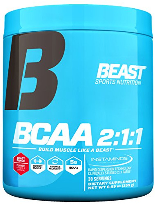 "Brand: Beast Sports Nutrition  Features:  INCREASED PROTEIN SYNTHESIS: BCAAs are vital in the formation of new muscle tissue through their effect on protein synthesis. This helps to expedite muscle recovery. REDUCES MUSCLE TISSUE BREAKDOWN: Research indicates that adequate leucine consumption may reduce the breakdown of muscle that is common during dieting and exercise. PERFECT 2:1:1 RATIO: Made with InstAminos for rapid dispersion, Beast BCAA 2:1:1 provides the building blocks of a beast by containing the ideal and clinically studied ratio of the amino acids leucine, isoleucine, and valine to promote new muscle growth. INCREASE RECOVERY AND ENDURANCE: Human studies have demonstrated that consuming BCAAs before, during, and after exercise can reduce muscle soreness and feelings of fatigue during intense workouts.* THE POWER OF TART CHERRY: A clinical dose of tart cherry extract is what clearly separates this product from others. This cutting-edge ingredient has proven it's abilities to accelerate muscle recovery, support connective tissue and has anti- inflammatory properties.  Publisher: Beast Sports Nutrition  Release Date: 10-04-2017  Details: "" Unleash your inner beast by adding the Beast BCAA 2:1:1 amino acid dietary supplement to your Amazon shopping cart. Made with InstAminos for rapid dispersion, our blend of building block amino acids is formulated at the perfect and clinically-studied ratio of 2:1:1 of leucine, isoleucine, and valine. We've also included tart cherry extract, a cutting edge ingredient to aids in rapid muscle recovery and supports connective tissue. Beast BCAA 2:1:1 helps to promote new muscle growth, improve recovery time, and reduce the muscle tissue breakdown that is common during workouts and while dieting. Our BCAA 2:1:1 ratio works exceptionally well with other Beast Sports Nutrition products and is intended for anyone who is serious about getting big, being strong, keeping fit, and staying healthy. Branched Chain Amino Acids (BCAAs) have a huge influence on the development of new muscle. They also accelerate recovery time and help to reduce the muscle breakdown that occurs during workouts. Research indicates that consuming leucine, which is an active ingredient in our BCAA supplement, may reduce muscle tissue breakdown. BCAAs also help to create a glycogen-sparing effect in muscle that may delay muscle fatigue. BCAAs are a vital part of healthy nutrition, letting you achieve the workout results you expect. As with any dietary supplement, knowing how to best use Beast BCAA 2:1:1 is vital for maximum impact. As a dietary supplement, take one (1) level scoop with 10 fluid ounces of water twice daily. It's recommended to take (1) serving between meals, 30-45 minutes before workouts, during workouts, and/or immediately following workouts. Each container of Beast BCAA contains 30 servings of delicious Tropical Breeze or Beast Punch-flavored quick-dissolving powder. *These statements have not been evaluated by the Food and Drug Administration. This product is not intended to diagnose, treat, cure, or prevent any disease. """