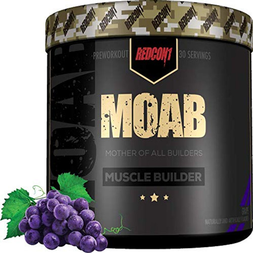 Brand: REDCON1  Color: Grape  Features:  Anabolic and anti-catabolic ingredients Non-hormonal, does not require any post cycle therapy Train hard, recover faster, and build muscle faster  Publisher: Redcon1  Details: MOAB is the Mother of all Builders -- as in muscle builders. Utilizing a combination of anabolic and anti-catabolic ingredients, MOAB limits muscle breakdown and supports muscle growth helping you achieve superior muscle building faster, the natural way. MOAB is non-hormonal and does NOT require any post cycle therapy (PCT). It works by upregulating your body's natural anabolic processes while also improving athletic performance and decreasing muscle breakdown. The end result is a supplement that not only helps you train hard, but recover faster, enabling you to train more frequently and build muscle faster.