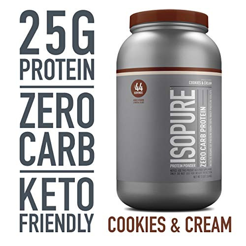 Brand: Isopure  Color: White  Features:  100% WHEY PROTEIN ISOLATE - a high-quality protein source providing 25g per serving to support muscle building and recovery ZERO/LOW CARB OPTIONS- helps for those watching their calorie intakes A PERFECT FIT - supports your active lifestyle and can be used post-workout, between meals, along with a healthy breakfast, or any time of day Added Vitamin & Mineral Blend KETO-FRIENDLY - this protein powder can help support your ketogenic macros Gluten & Lactose Free  Publisher: Natures Best  Release Date: 10-03-2008  Details: Pack in powerfully pure protein, without packing on the carbs. Our 100 percent whey protein isolate powders amp you up, without any unwanted weight. Just pick your level: Zero Carb or Low Carb (which also has ZERO sugar), both with 25 grams of protein per scoop. It's 100 percent whey protein isolate loaded with vitamins, minerals and nutrients to keep you going strong—and always without gluten, lactose, or any impurities. Made with our complete microfiltration process to be the only completely clear milk protein when dissolved in water. Available in a range of delicious flavors to mix up some seriously delicious and dynamic recipes.