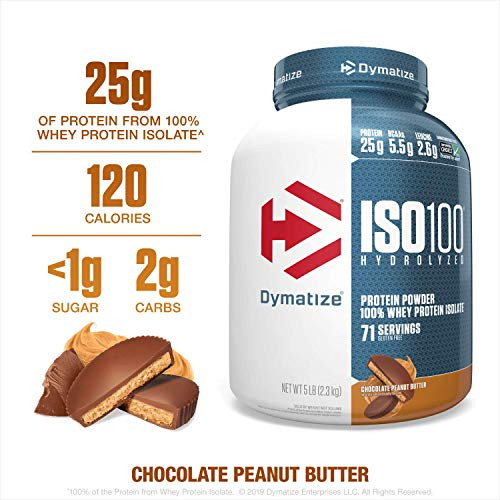 Brand: Dymatize  Features:  5 lbs of Dymatize ISO100 Chocolate Peanut Butter Protein Powder (71 Servings) 25 grams of protein, 5.5 grams of branched-chain amino acids (BCAAs), and 2.7 grams of Leucine per serving. 1 gram or less of sugar and fat per serving. Scientifically formulated, fast-absorbing, hydrolyzed, 100% whey protein isolate. If your goal is gains in muscle size and strength, ISO100 is your perfect partner Easy on the stomach, gluten free with less than 0.5g of Lactose With 110-120 calories per serving, ISO100 can help support your keto diet, low carb diet or high protein diet. Add to your favorite recipe or high protein shakes!  Publisher: Dymatize Nutrition  Release Date: 01-04-2017  Details: ISO100 is simply muscle-building fuel. Each serving contains 25 grams of protein and 5.5g of BCAAs including 2.7g of L-Leucine. Known worldwide for quality, taste and purity, ISO100 is produced to our highest quality standards. ISO100 is formulated using a cross-flow micro filtration, multi-step purification process that preserves important muscle-building protein fractions while removing excess carbohydrates, fat, lactose and cholesterol. ISO100 is made with pre-hydrolyzed protein sources to ensure fast digestion and absorption.